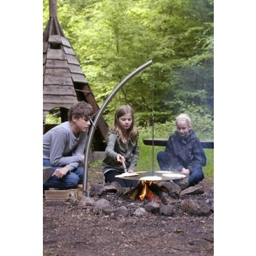 Swing Grill for Camp Fires with Viking Pan (Stainless Steel - 60cm)